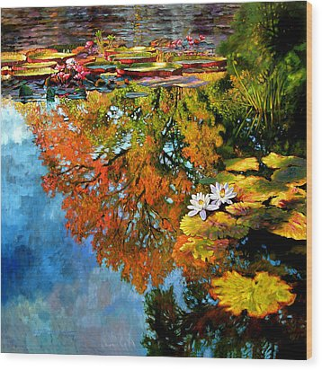 Early Morning Fall Colors Wood Print by John Lautermilch