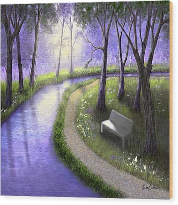 Wood Print featuring the painting Early Morning In The Park by Sena Wilson
