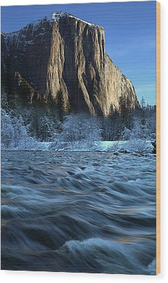 Wood Print featuring the photograph Early Morning Light On El Capitan During Winter At Yosemite National Park by Jetson Nguyen