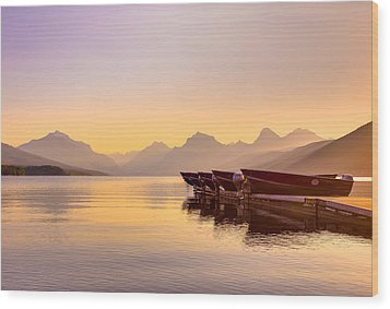 Early Morning On Lake Mcdonald Wood Print