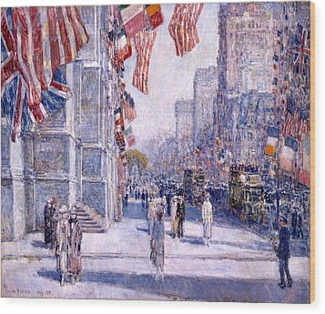 Wood Print featuring the painting Early Morning On The Avenue In May 1917 - 1917 by Frederick Childe Hassam