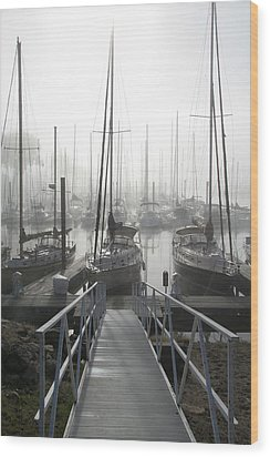 Early Morning On The Docks Wood Print by Laurie With
