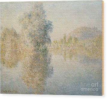 Early Morning On The Seine At Giverny Wood Print by Claude Monet