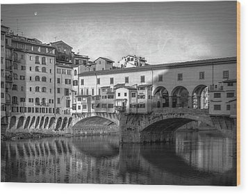 Wood Print featuring the photograph Early Morning Ponte Vecchio Florence Italy by Joan Carroll