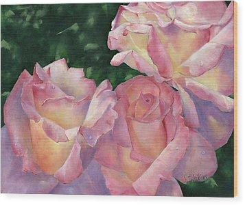 Early Morning Roses Wood Print by Sheryl Heatherly Hawkins