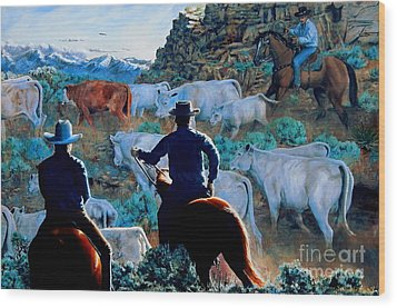 Early Morning Roundup Wood Print by Ruanna Sion Shadd a'Dann'l Yoder