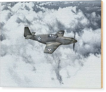 Early P-51 Mustang Fighter  Wood Print by Randy Steele