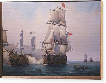 Wood Print featuring the painting Early Painting Of The Battle Of Trafalgar. by Mike Jeffries