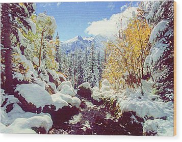 Wood Print featuring the photograph Early Snow by Eric Glaser