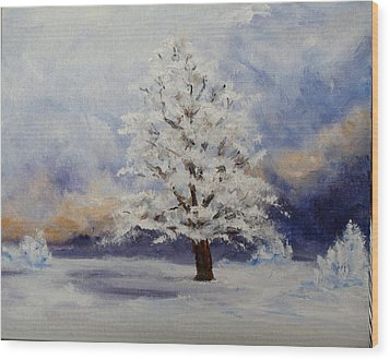 Early Snow Wood Print by Thomas Restifo