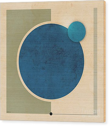 Earth And Moon Graphic Wood Print by Phil Perkins