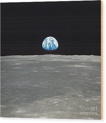 Earth And The Moon Wood Print by Stocktrek Images