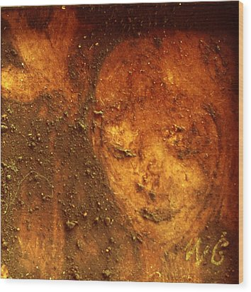Wood Print featuring the painting Earth Face by Winsome Gunning