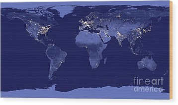 Earth From Space Wood Print by Delphimages Photo Creations