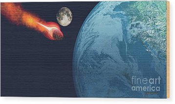 Earth Hit By Asteroid Wood Print by Corey Ford