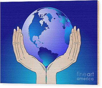 Earth In The Your Hands Wood Print by Michal Boubin