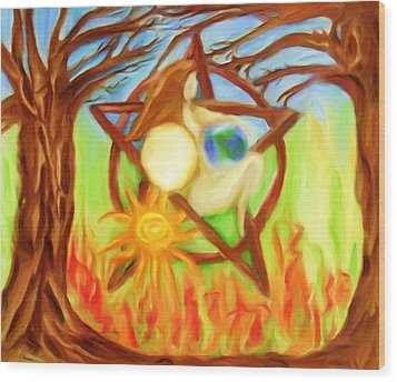 Wood Print featuring the painting Earth Mother Goddess by Shelley Bain