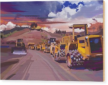 Earthmover Dawn Wood Print by Brad Burns
