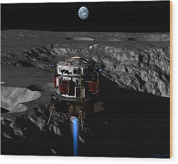 Wood Print featuring the digital art Earthrise by David Robinson