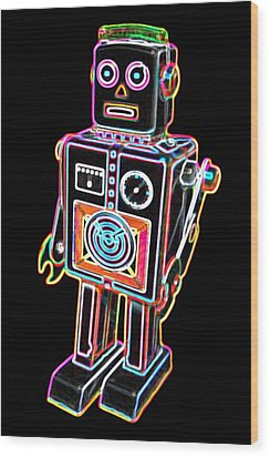 Easel Back Robot Wood Print by DB Artist
