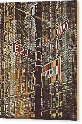 East 23rd And Broadway Wood Print by Teodoro De La Santa