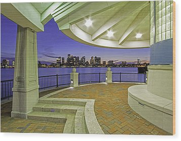East Boston Piers Park View Of Boston Wood Print by Juergen Roth