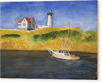 East Coast Lighthouse With Crab Boat Wood Print by Robert Thomaston