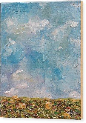 Wood Print featuring the painting East Field Seedlings by Judith Rhue