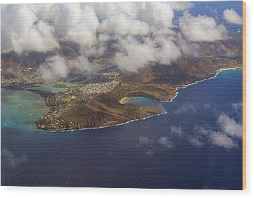 East Oahu From The Air Wood Print