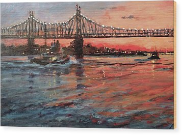 East River Tugboats Wood Print by Peter Salwen