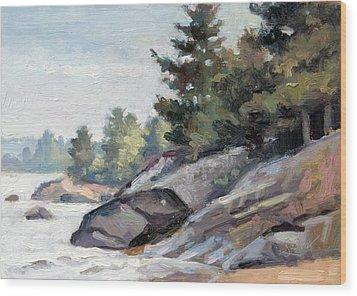 East Shore Surf'n Turf Wood Print by Larry Seiler