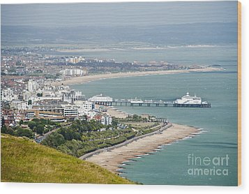 Eastbourne From Beachy Head Sussex Uk Wood Print by Donald Davis