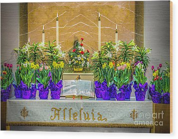 Wood Print featuring the photograph Easter Alter And Flowers by Nick Zelinsky