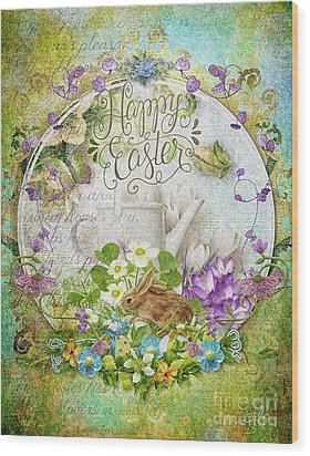Wood Print featuring the mixed media Easter Breakfast by Mo T