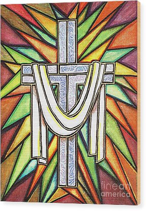 Wood Print featuring the painting Easter Cross 5 by Jim Harris