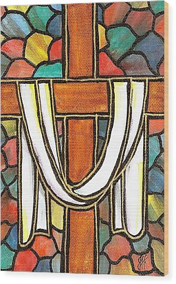 Wood Print featuring the painting Easter Cross 6 by Jim Harris