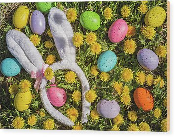 Wood Print featuring the photograph Easter Eggs And Bunny Ears by Teri Virbickis