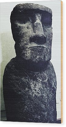 Wood Print featuring the painting Easter Island Stone Statue by Eric  Schiabor