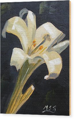 Easter Lilly Wood Print by Maria Soto Robbins