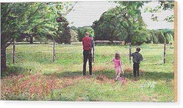 Easter Morning In Paige Wood Print by Joella Reeder