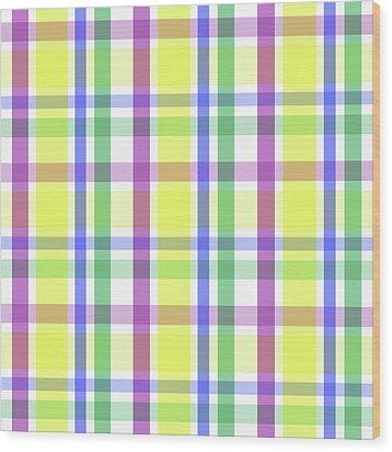 Wood Print featuring the digital art Easter Pastel Plaid Striped Pattern by Shelley Neff
