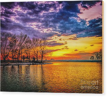 Wood Print featuring the photograph Easter Sunset At Riverview Beach Park by Nick Zelinsky
