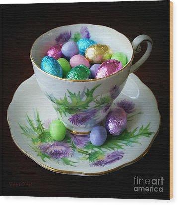 Easter Teacup Wood Print