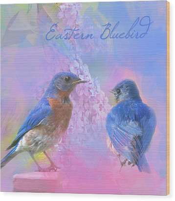 Wood Print featuring the photograph Eastern Bluebirds Watercolor Photo by Heidi Hermes