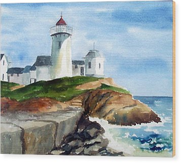 Eastern Point Light Wood Print by Anne Trotter Hodge