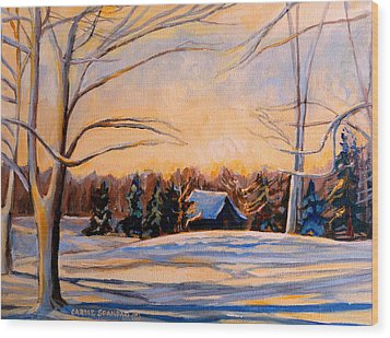 Eastern Townships In Winter Wood Print by Carole Spandau