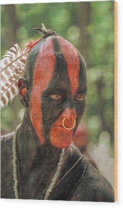 Eastern Woodland Indian Portrait Wood Print by Randy Steele
