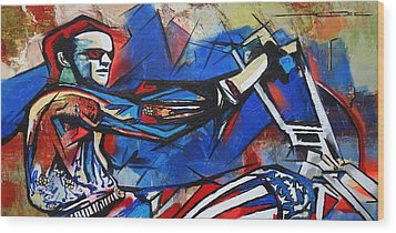 Wood Print featuring the painting Easy Rider Captain America by Eric Dee
