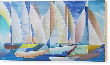 Wood Print featuring the painting Easy Sailing by Douglas Pike