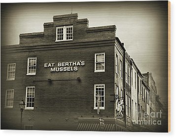 Wood Print featuring the photograph Eat Berthas Mussels In Black And White by Paul Ward